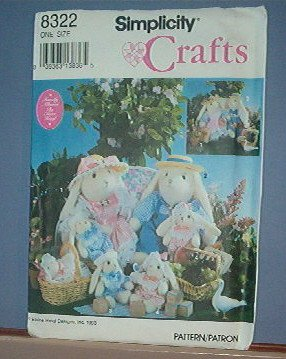 "Sewing Pattern Simplicity 8322 Three Rabbits - 13"" & 5"" Bunnies and 13 X4 Couch with clothes"