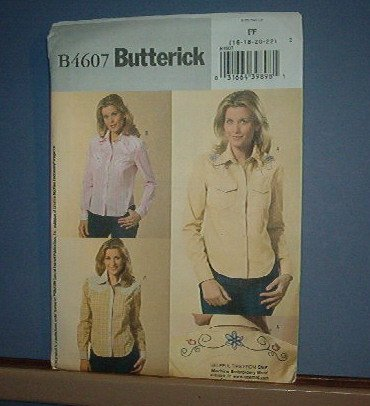 Sewing Pattern: Butterick  B4607  Cowboy blouse  Size 16-22