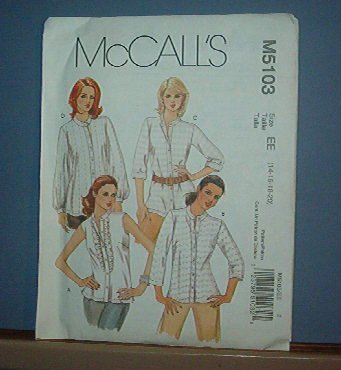 Sewing Pattern: M5103 McCall's Blouse, 4 styles, Size 14 -20