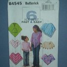 Butterick Sewing  Pattern B4545. Six different ponchos, cute, Sized Med and Lrg.