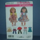 "Sewing Pattern Simplicity 3936 Doll Wardrobe 18"" doll"