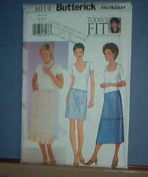 Sewing Pattern: Butterick 3014 Misses' Petite Skirt Size 12, 14 16