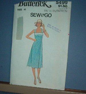 Sewing Pattern: Butterick 5499 Sun Dress Size 10