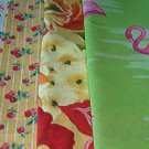 "Sewing Fabric - Quilting Pieces - 5 each - flamingos (4""), cherries & flowers"