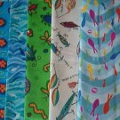 Sewing Fabric - Quilting Pieces  - 5 eacj - fish, bugs, bait, flowers