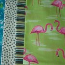 Sewing Fabric - Quilting Pieces  - 5 each - odd prints and famingoes