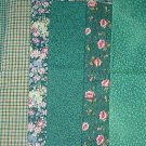 Sewing Fabric - Quilting Pieces  -6 each - All green: checks, plaids and flowers