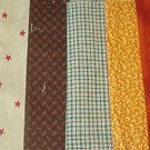Sewing Fabric - Quilting Pieces  - 6 each - Plaid, stars, small prints