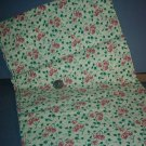 Sewing Fabric Cotton No 321 Pink flowers on green ivy on beige background
