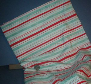 Sewing Fabric Cotton No 340 Stripe red and green on white