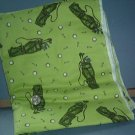 Sewing Fabric  No 362 - Light Green with golfing equipment