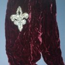 "Christmas gifts - burgundy velvet muffler w/ 5"" rhinestone design - lovely"