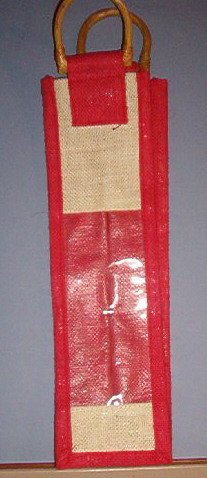 """Wine Bottle Bag - 4"""" on all sides around 14"""" long, one side clear plastic, bamboo handles."""