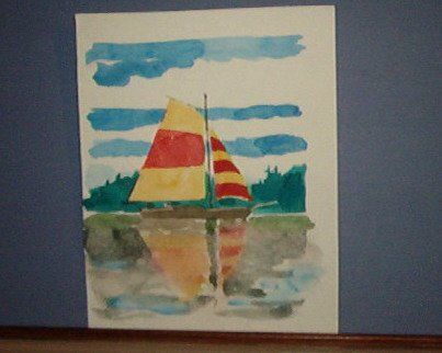 "Painting - 5.5 X 4.5"" sail boat and reflection - Zimmerman"