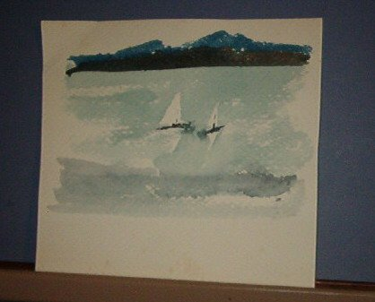 """Painting - 6.5 X 7"""" - two sail boats - Zimmerman"""
