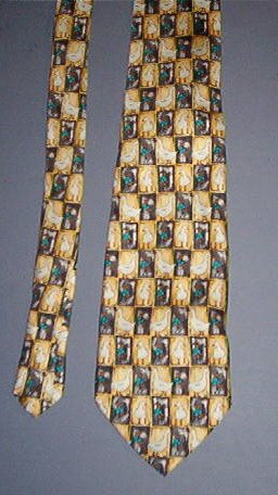"Neck Tie - Necktie - Goose in squares - 4"" across - Golf Club Brand - Sweet"
