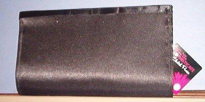 "Purse - Black mat satin - 8.75X4.75X1"" - small matching coil purse - Bow decoration"