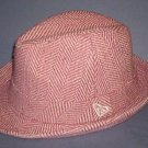 """Hat - Burgundy & beige -  beautifully lined, one size fits all - 2"""" brim - 45% polyester, 65% cotton"""