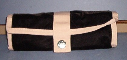 """Cosmetic Case - Velvet with phile ribbon trim - 8.5X9"""" 2  zip  & Center removable compartments"""