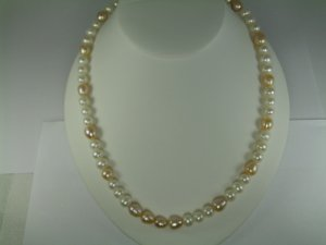 White & Pink Fresh Water pearl  Necklace Set RB788