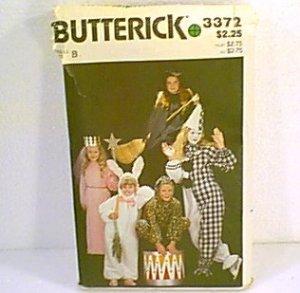 Costume Pattern Princess Bunny Witch Jester Clown Animal Butterick 3372 Size B Girls Cut