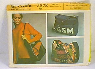 "Shoulder Tote Bag & Alphabet Stencils 3.5"" McCall's #2378 Sewing Pattern Uncut"