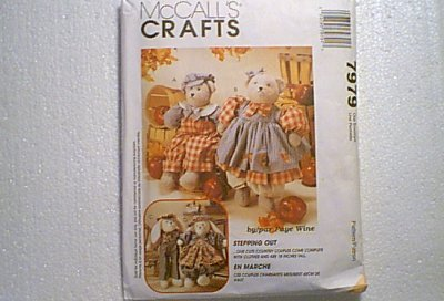 Stuffed Bunny Couple w Clothes Toys McCalls Pattern 7979 Cut