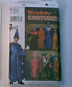 Unisex Costumes Clown Ninja Wizaed Dress Tunic Headpieces Cape Robe Simplicity Pattern 9703 Uncut