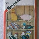 Stuffed Rabbit Pig Cat Duck Hen Rooster Pillows Appliques Simplicity Pattern 5684 Cut