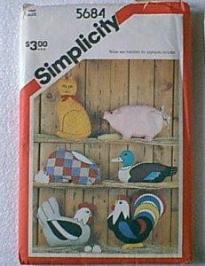 Stuffed Rabbit Pig Cat Duck Hen Rooster Pillows Appliques Simplicity Pattern 5684 Cut