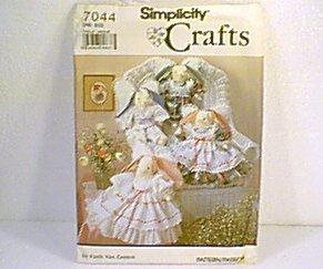 Stuffed Decorative Angel Bunnies & Clothes Simplicity Pattern 7044 Uncut