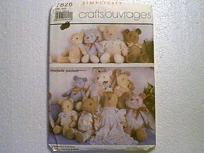 Marjorie Puckett Stuffed Bears Teddy 3 Sizes Simplicity Pattern 7826 Uncut