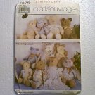 Marjorie Puckett Stuffed Bears Teddy 3 Sizes Simplicity Pattern 7826 Uncut