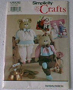 Dressed Animals or Dolls with Wood Block Body Simplicity Pattern 0606 Cut
