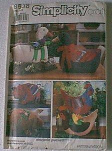 Marjorie Puckett Stuffed Goose Geese Hen Pigs 2 Each Flowers Simplicity Pattern 8538 Uncut