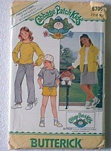 Cabbage Patch Kids Tops Skirt Shorts Pants Butterick Pattern 6706 Sz 7 8 10 Uncut