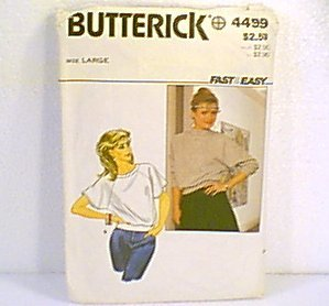 Misses Tops Butterick Sewing Pattern 4499 Sz lg 16 - 18 Cut