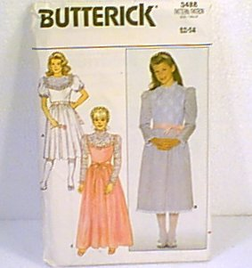 Girls Fancy Party Dress Dresses Butterick Sewing Pattern 3488 1985 Sz 12 14 Cut
