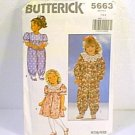 Toddlers Dress & Jumpsuit Jumper Sz 1 2 3 Butterick Sewing Pattern 5663 1991 Cut