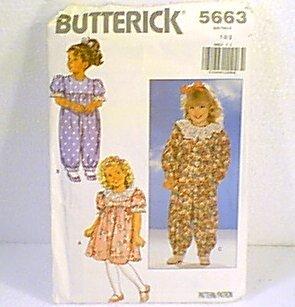 Toddlers Dress & Jumpsuit Jumper Sz 1 2 3 Butterick Sewing Pattern 5663 1991 Cut