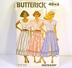 Misses Skirt Butterick Sewing Pattern 4843 Sz 8 10 12 1987 Uncut