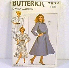 David Warren Misses Dress Butterick Sewing Pattern 4917 Sz 8 10 12 1987 Uncut