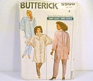 Misses Shirt Blouse & Pants Butterick Sewing Pattern 5900 Sz 8 1987 Uncut