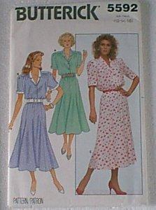 Misses Dress Butterick Sewing Pattern 5592 Sz 12 14 16 Uncut