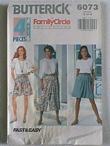 Misses Split Skirt 4 pcs Family Circle Butterick Sewing Pattern 6073 Sz 12 14 16 Uncut