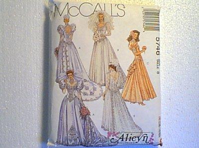 Beautiful Wedding Gown & Bridesmaid Dress McCalls Sewing Pattern 5746 Sz 8 Uncut