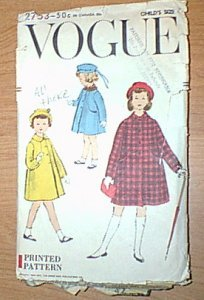 Childs A Line Coat Cute 1956 Vogue Pattern 2753 Sz 4 Cut Poor Envelope