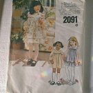 Little Vogue Toddler Dress Jumper Sundress Sewing Pattern 2091 Sz 4 Uncut