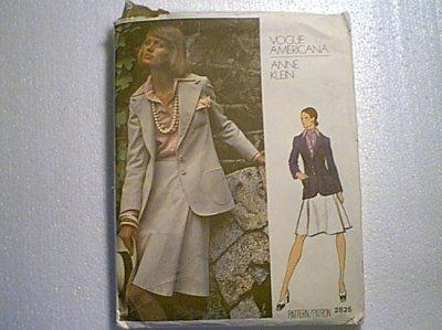 Anne Klein Vogue Americana Misses Suit Jacket Skirt Sewing Pattern 2825 Sz 14