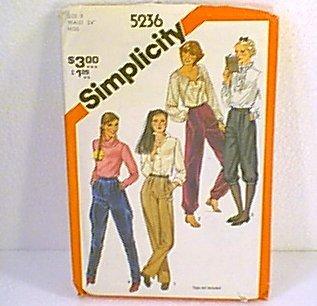 Misses Pants Knickers Jodnpurs Simplicity Sewing Pattern 5236 Sz 8 Uncut